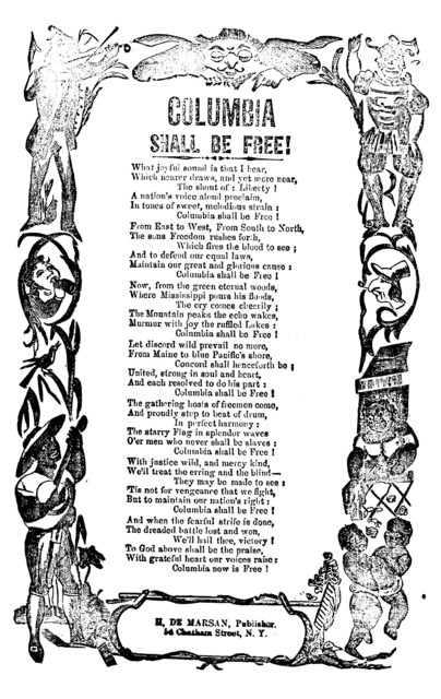 Columbia shall be free! H. De Marsan, Publisher. 54 Chatham St., N. Y