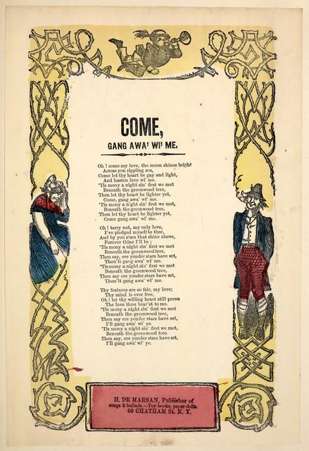 Come gang awa' wi' me. H. De Marsan, Publisher, ... 60 Chatham Street, N. Y