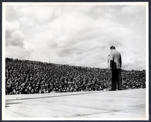 Comedian Danny Kaye entertains troops of the 1st US Cav. Div., during show held at Div. HQS, Korea.