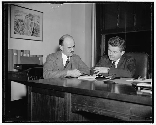 Complete preliminary investigation of Life Insurance Companies for S.E.C. Washington, D.C., Nov. 4. Completing a preliminary investigation of Life Insurance Companies for the Securities and Exchange Commission, Gerhard Gesell, who served as the SEC's Chief Counsel in the investigation of the Richard Whitney case, and Ernest J. Howe, SEC Chief Financial Advisor, have begun to prepare the material which they will present at public hearings of the Monopoly Study Committee in January. Questionnaires, designed to disclose the corporate set-up of the companies, were sent to 406 life insurance firms. All but about 35, who were given extensions of time, answered and returned them to the SEC by Oct. 1, 11/4/38