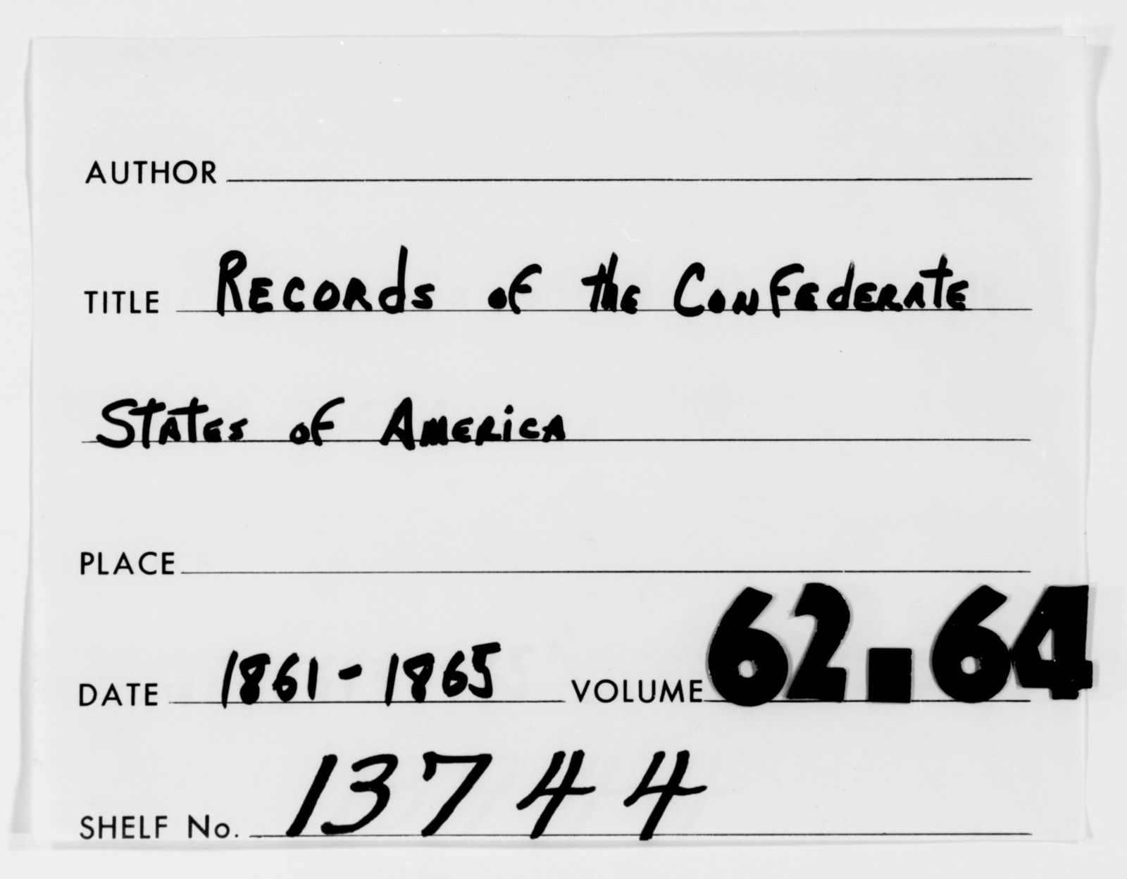 Confederate States of America records: Microfilm Reel 34