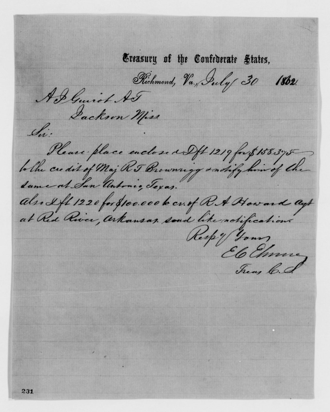 Confederate States of America records: Microfilm Reel 39