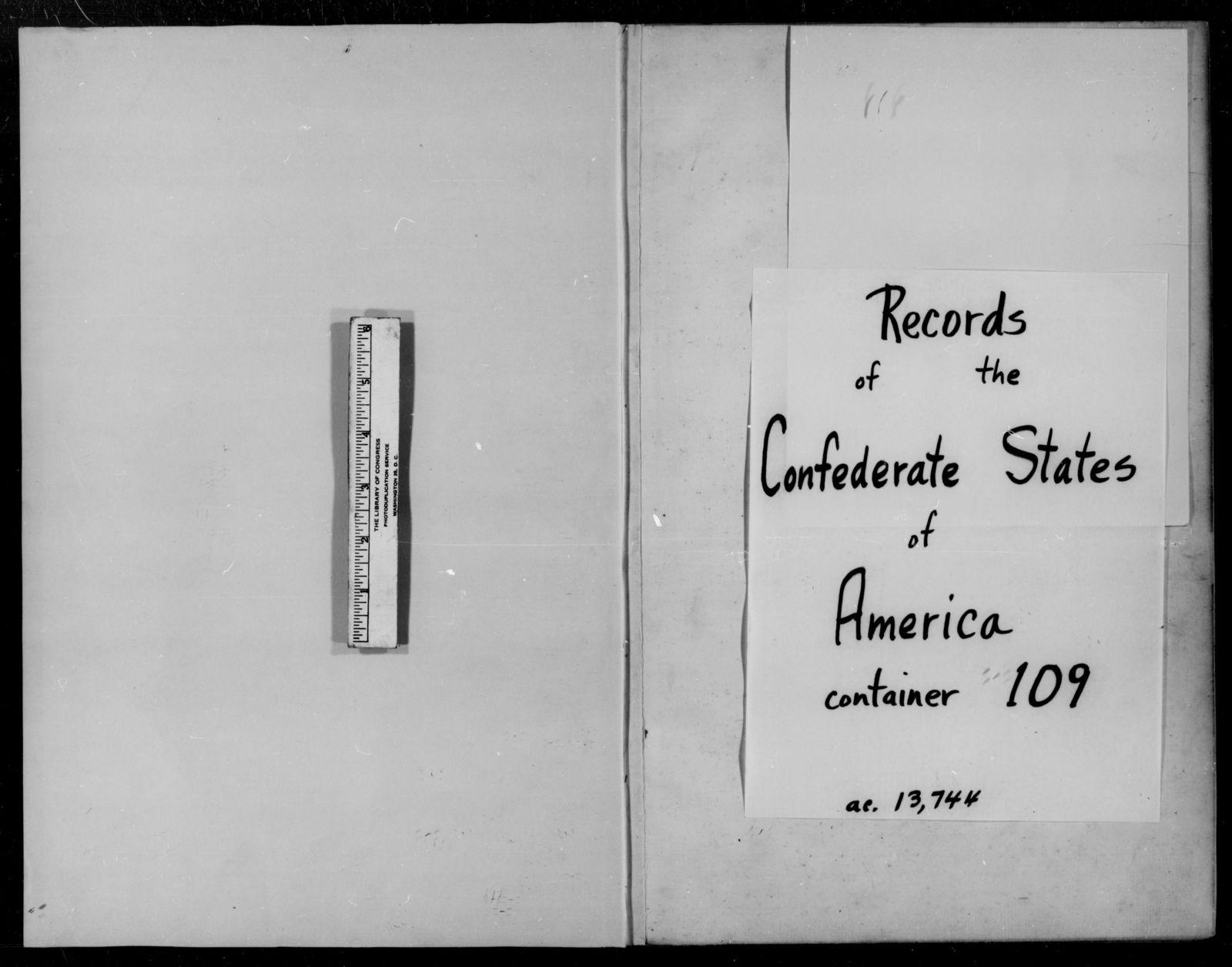 Confederate States of America records: Microfilm Reel 63