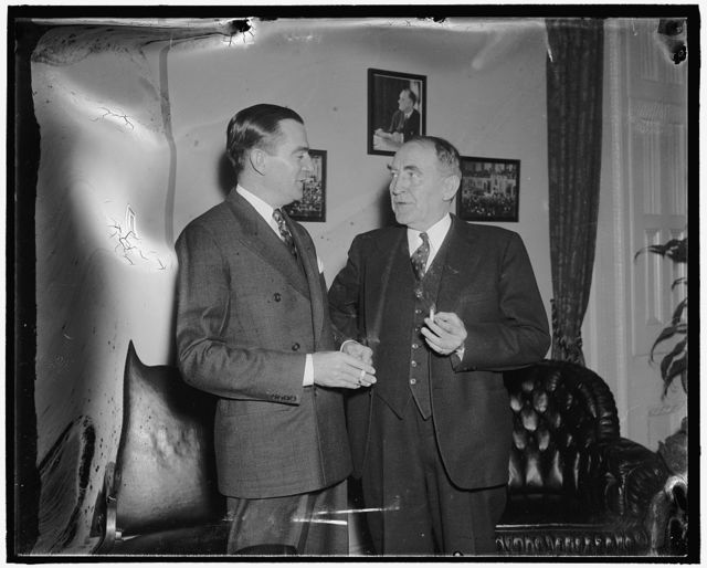 Congressman's day. 11:40 A.M. Rep. Thomas engages in a short conference with Speaker Bankhead before attending to his duties on the floor of the House