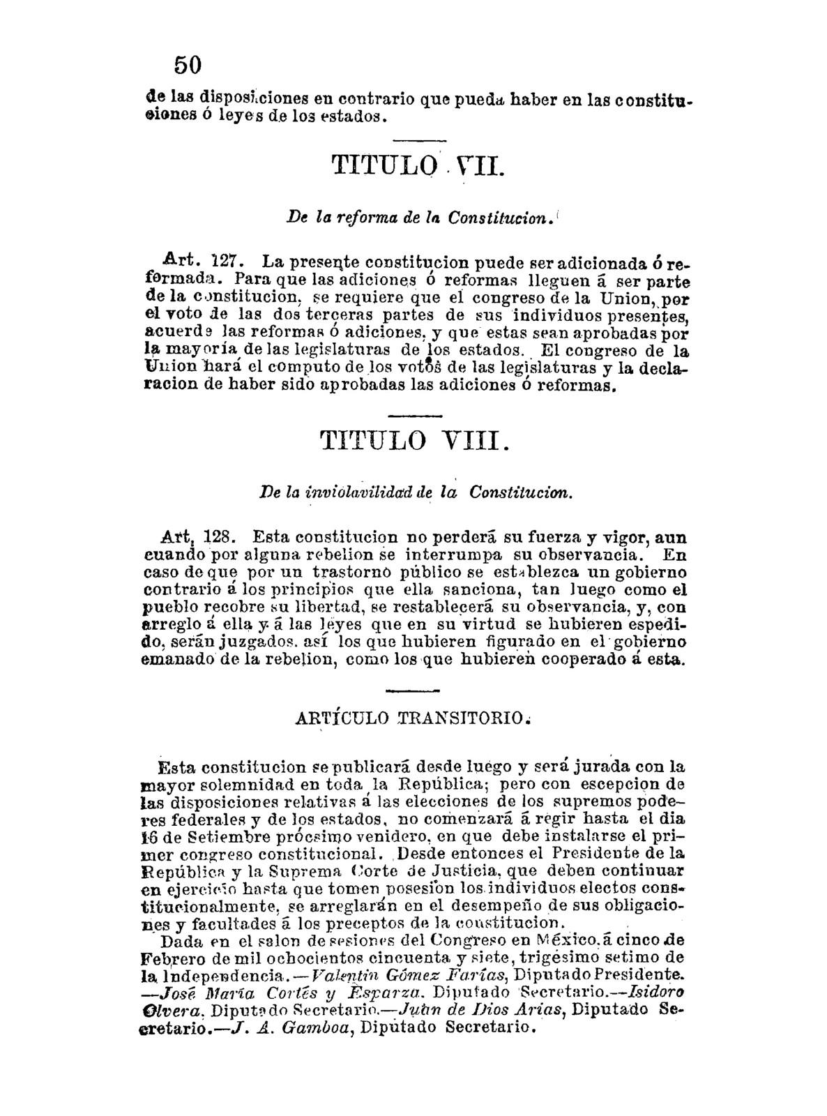 Constitución politica de la República Mexicana...