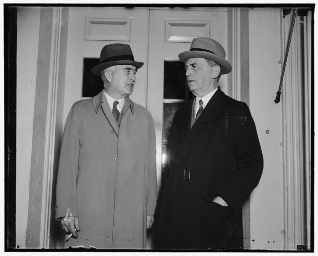 Construction of new battleships to start this year. Washington, D.C., April 8. Following a conference with president Roosevelt today, Assistant Secretary of the Navy Charles Edison (left) and Rear Admiral William D. Leahy, Chief of Naval Operations, Announces that construction of the new battleships provided in the new Navy Supply Bill will be started before January 1, 4/8/38