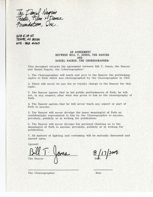 Contract between Daniel Nagrin and Bill T. Jones