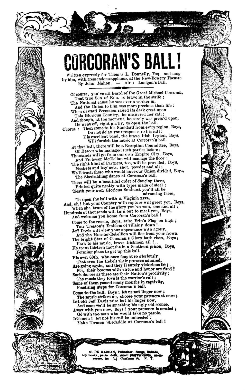 Corcoran's ball! By John Mahon. Air: Lanigan's ball. H. De Marsan, Publisher, ... 54 Chatham St., N. Y