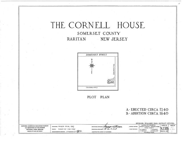Cornell Homestead, Somerset Street, Raritan, Somerset County, NJ