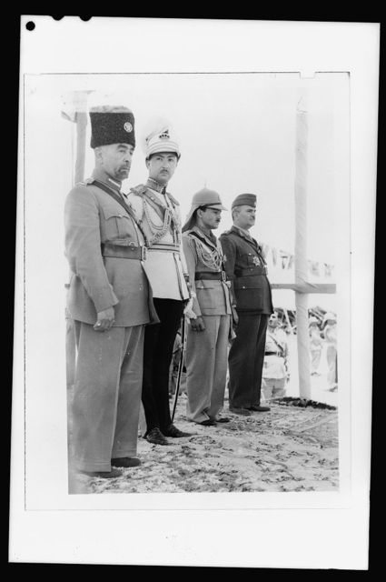 'Coronation' of King Abdullah in Amman on May 25, '46. King Abdullah, Emir Abdul Illah, (Regent of Iraq), Emri Naif, King Abdullah's youngest son and Nuri Pasha Said, Iraqi Ambassador at Large
