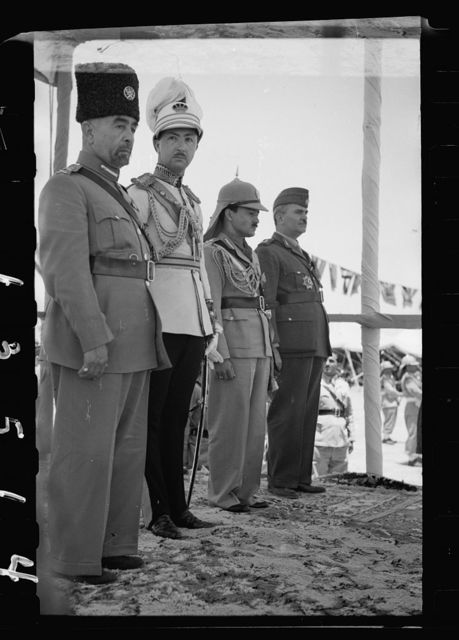 Coronation of King Abdullah in Amman on May 25, '46. King Abdullah, Emir Abdul Illah (Regent of Iraq), Emir Naif, King Abdullah's youngest son and Nuri Pasha Said, Iraqi Ambassador at Large