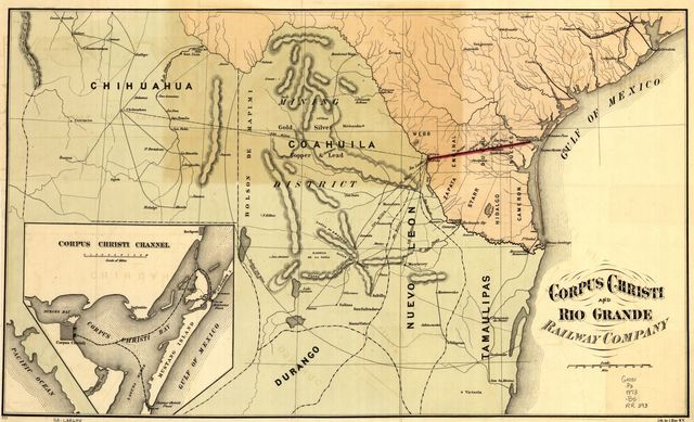 Corpus Christi and Rio Grande Railway Company, [map showing the proposed railroad between Laredo and Corpus Christi and its connections with Mexico].