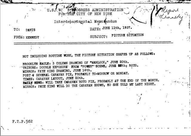 Correspondence, Memoranda - 1937 - John Kennedy - Publicity, Newspaper Coverage, Productions(folder 2)