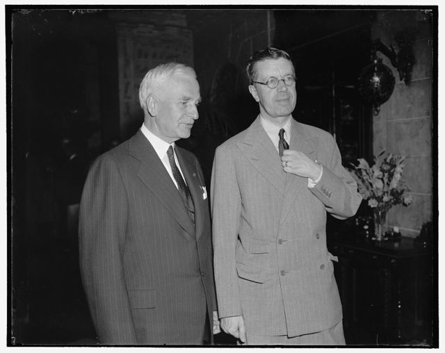 Corwin Prince meets Sec. of State Hull. Washington, D.C., July 12. Sec. of State Cordell Hull, left; with Crown Prince Gustaf Adolf of Sweden, snapped as the left the dining room of the Carlton Hotel, where Mrs. Hull entertained for the royal couple, the Prince is traveling incognito while in this country, 7/12/38