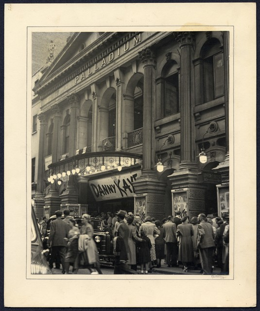 [ Crowd waiting outside the London Palladium for a Danny Kaye performance, June 15, 1951. Note verso from Kathleen Withersby]