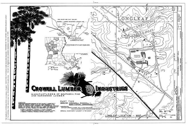 Crowell Lumber Mill, U.S. Highway 165, Longleaf, Rapides Parish, LA