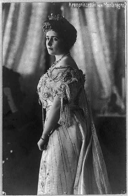 [Crown Princess of Montenegro, three-quarter length portrait, standing, facing left]