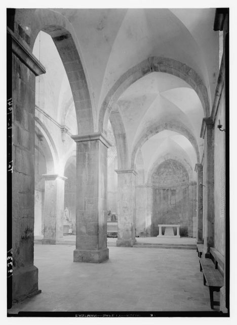 Crusader church at Abou Gosh (Kirjath Jearim). Int[erior], southern aisle showing new altar just erected but not consecrated as yet