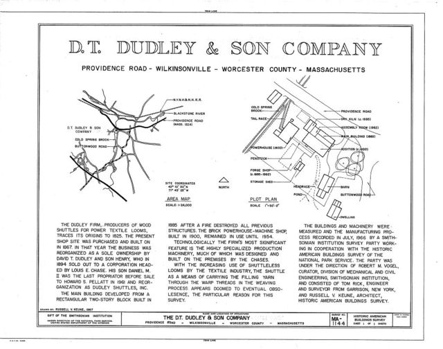 D. T. Dudley & Son Company, Providence Road, Wilkinsonville, Worcester County, MA