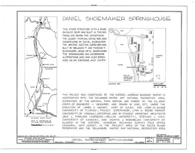 Daniel Shoemaker Farm, Springhouse, Wallpack Center, Sussex County, NJ