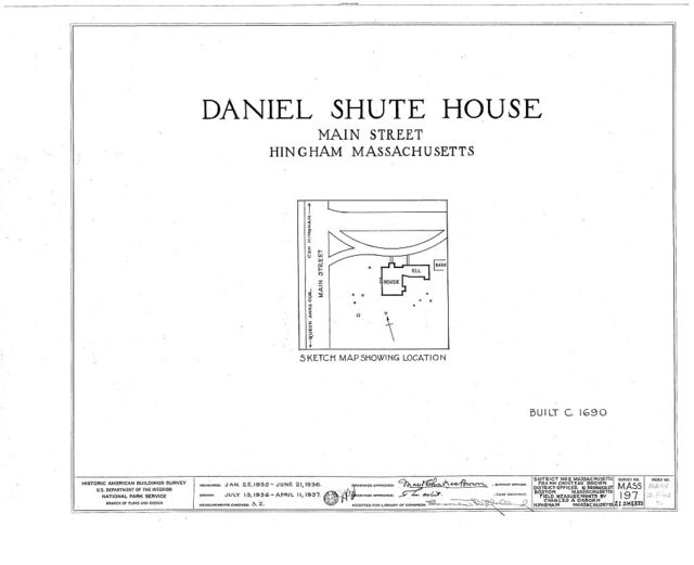 Daniel Shute House, Main & South Pleasant Streets, Hingham, Plymouth County, MA