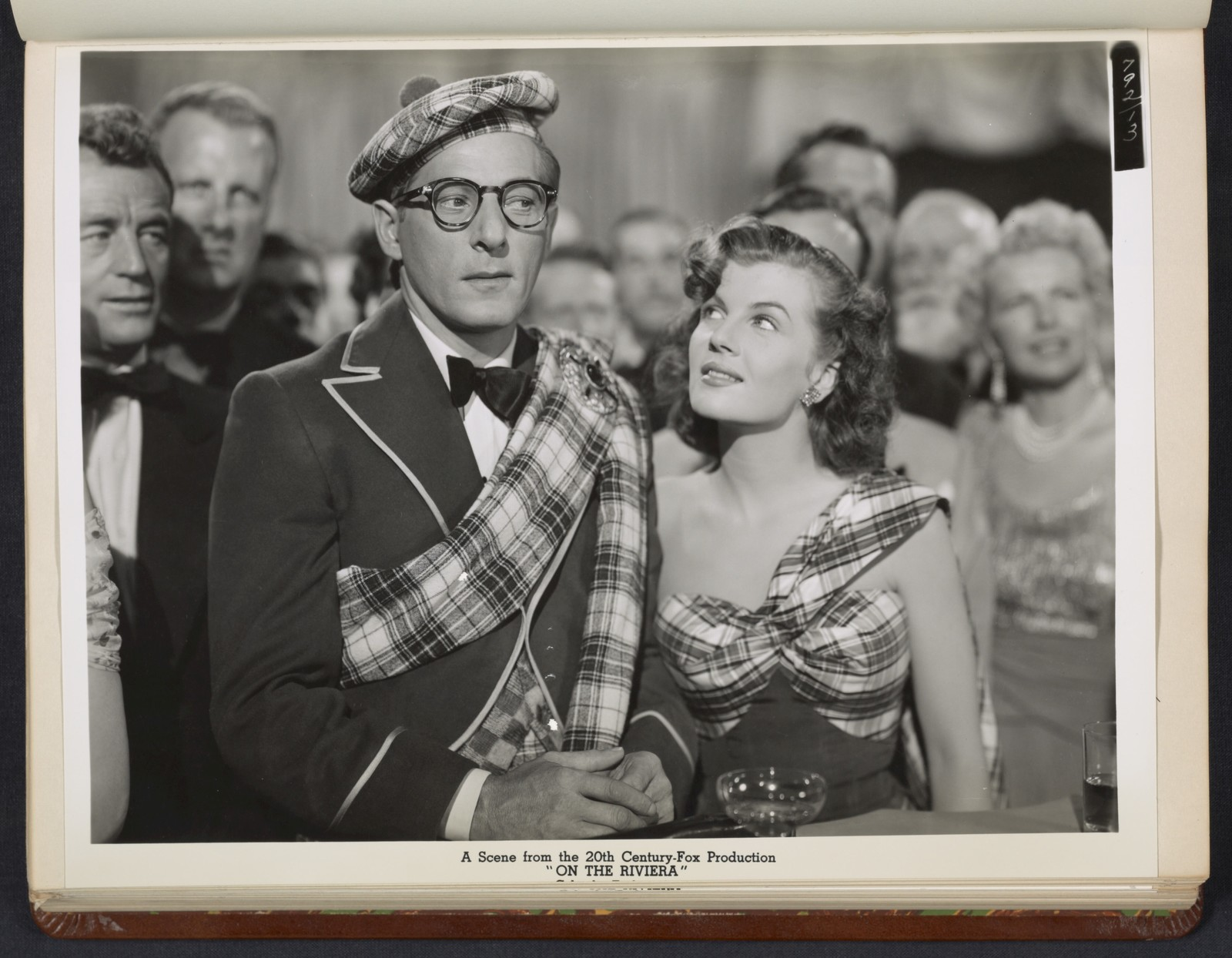 """[ Danny Kaye and Corinne Calvet in Celtic costumes - scene from """"On the Riviera""""]"""
