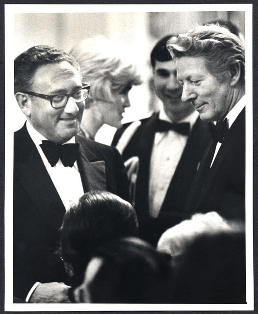 [ Danny Kaye and Henry Kissinger at a White House State Dinner for Prime Minister Harold Wilson, 1975]