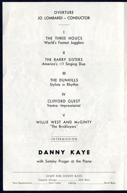 Danny Kaye and his All-Star International Show [at the Carter Barron Amphitheater in Washington, DC]
