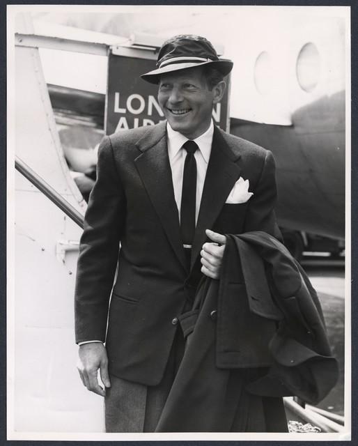 Danny Kaye arrives at London Airport, Monday, May 16th, 1955