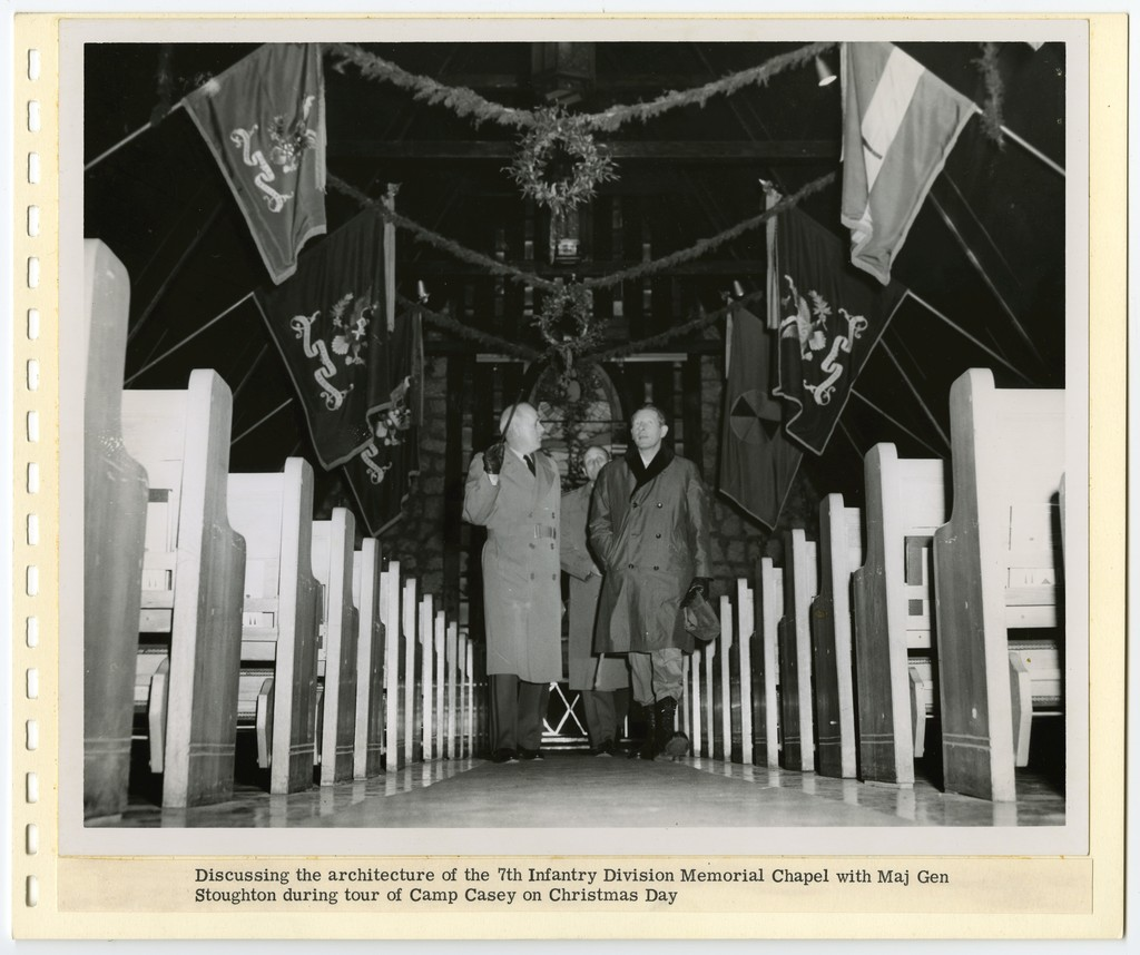 [ Danny Kaye] discussing the architecture of the 7th Infantry Division Memorial Chapel with Maj Gen Soughton during tour of Camp Casey on Christmas Day