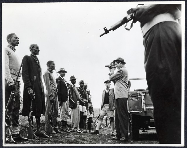 [ Danny Kaye filming soldiers in Africa on a UNICEF tour]