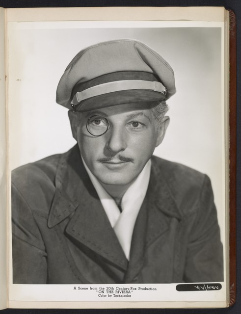 """[ Danny Kaye headshot - with monocle and hat - from """"On the Riviera""""]"""