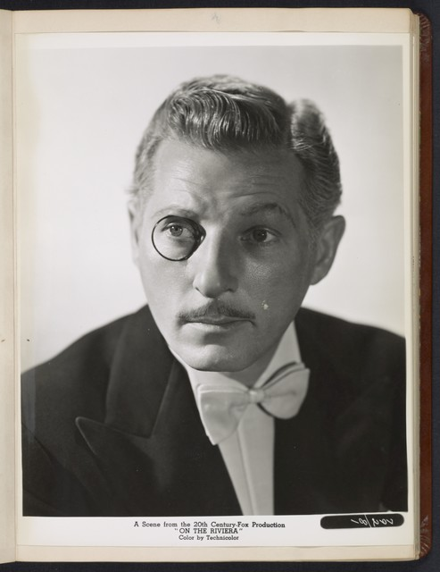"[ Danny Kaye headshot - with monocle - from ""On the Riviera""]"