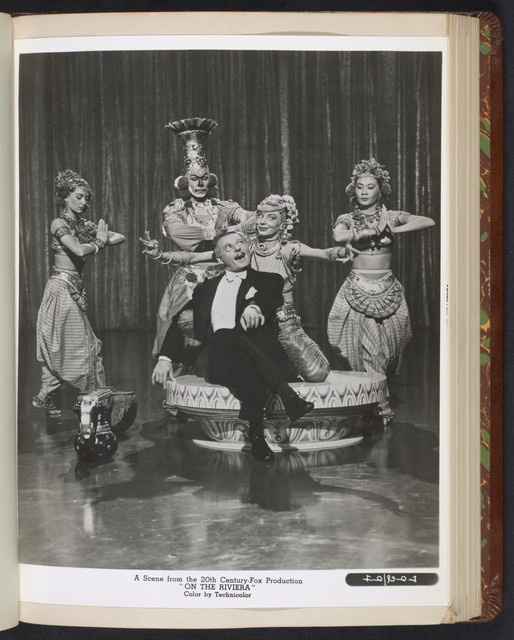 "[ Danny Kaye in theatrical impersonation of the character Henri Duran, during an Indian dance - scene from ""On the Riviera""]"