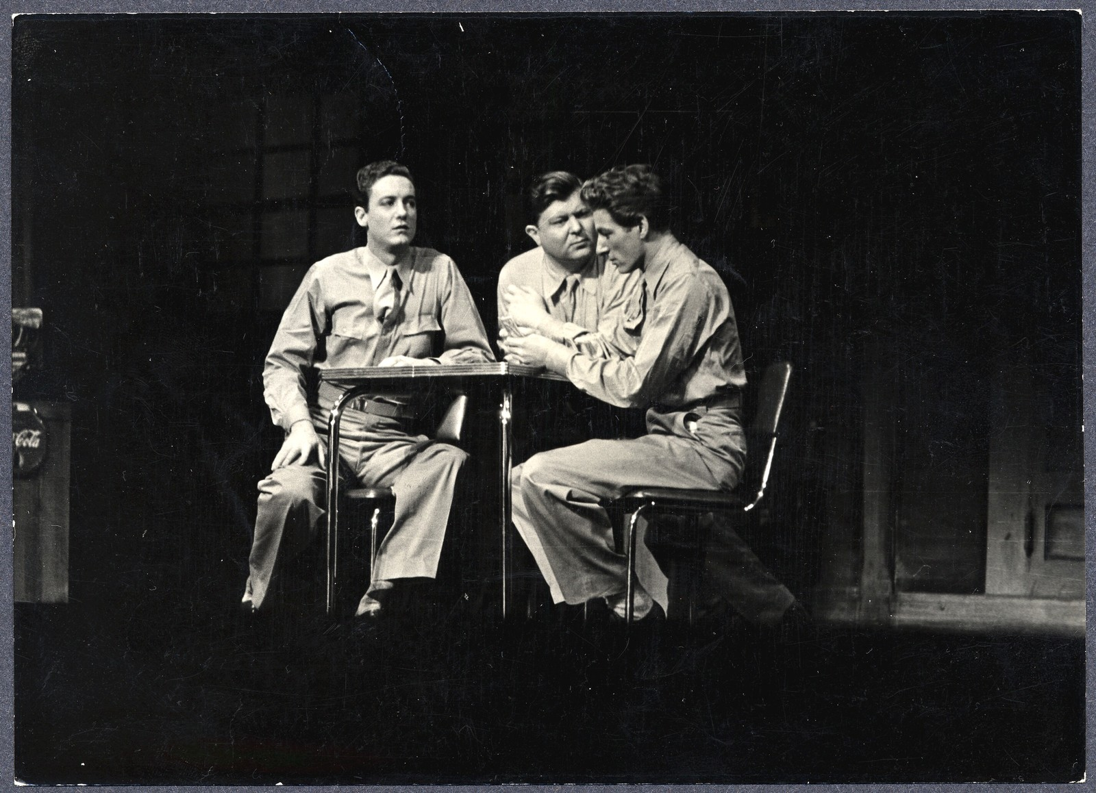 [ Danny Kaye plays cards with company actors onstage in 'Let's Face It']