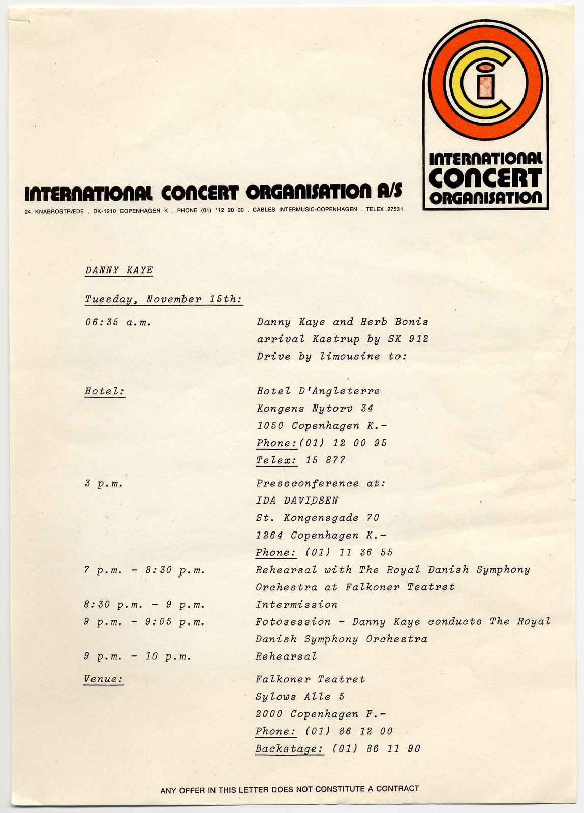 [ Danny Kaye schedule during a 1977 trip to Copenhagen to conduct the Royal Philharmonic]