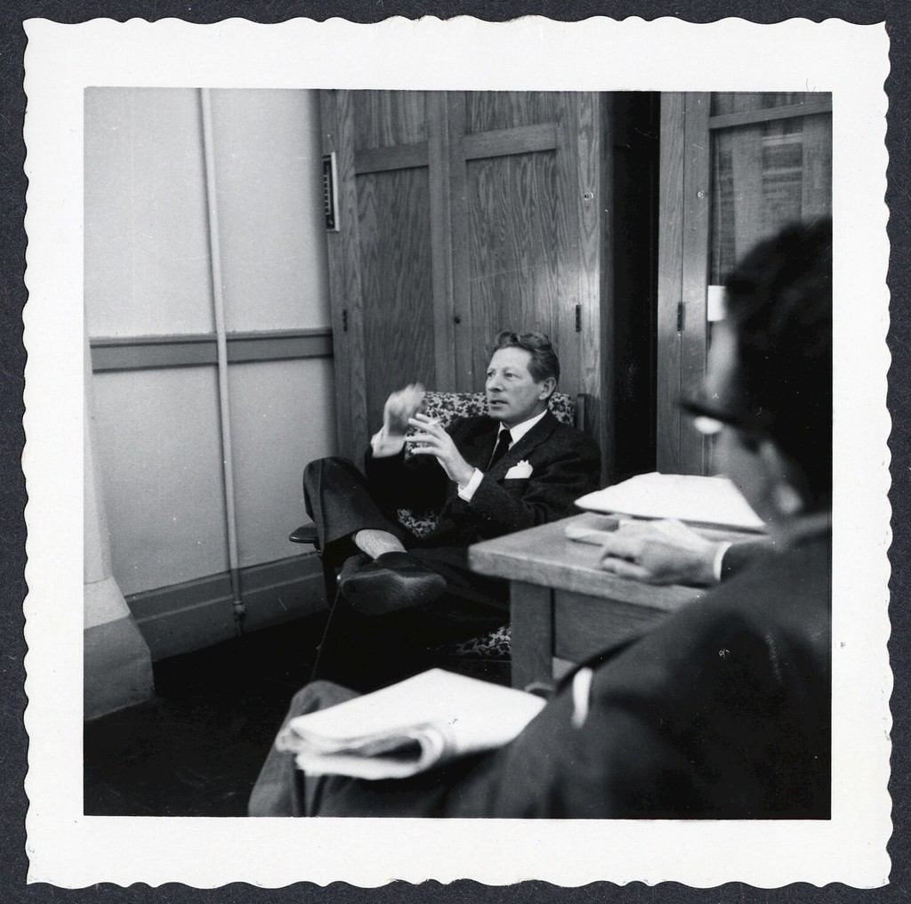 [ Danny Kaye talking in room with unknown man at P.S. 149]