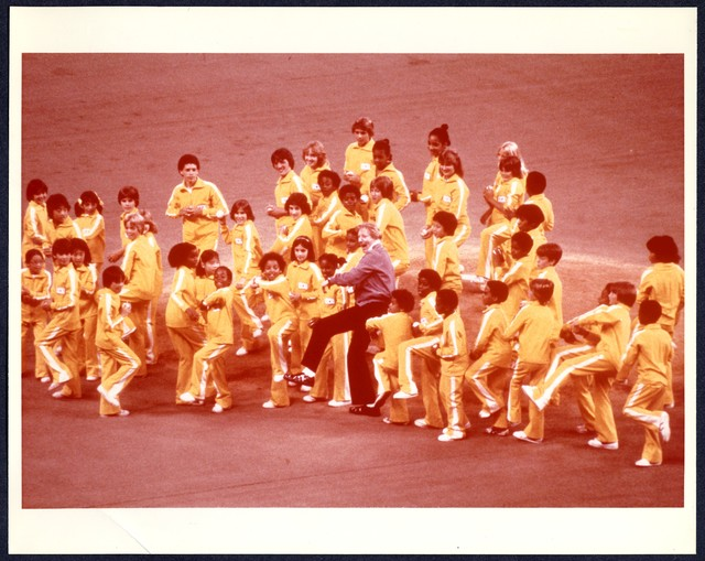 [ Danny Kaye throws out the first pitch with a group of children at the 50th All-Star Game, July 17, 1979]