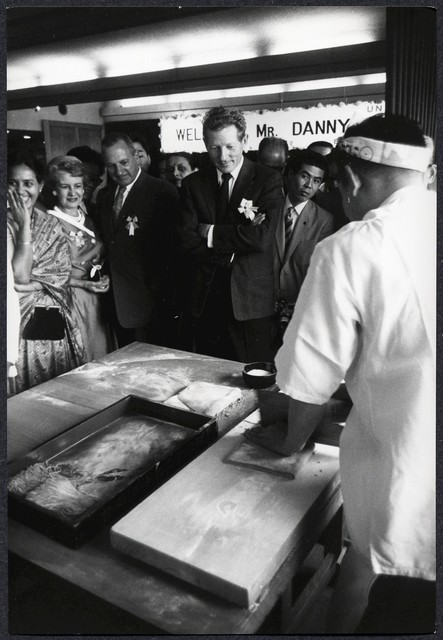 [ Danny Kaye, while on tour of Japan and six Asian nations, watches Japanese? chef make noodles]