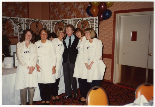 [ Danny Kaye with participants at a Celebrity Chef Cook-Off, 1982]