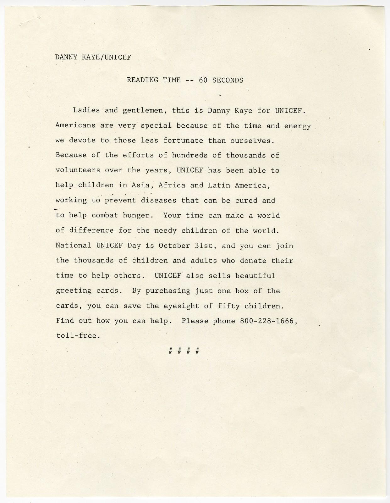 [ Danny Kaye/UNICEF - Reading Time - 60 seconds]