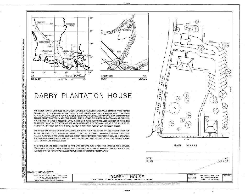 Darby House, 102 Main Street, Baldwin, St. Mary Parish, LA