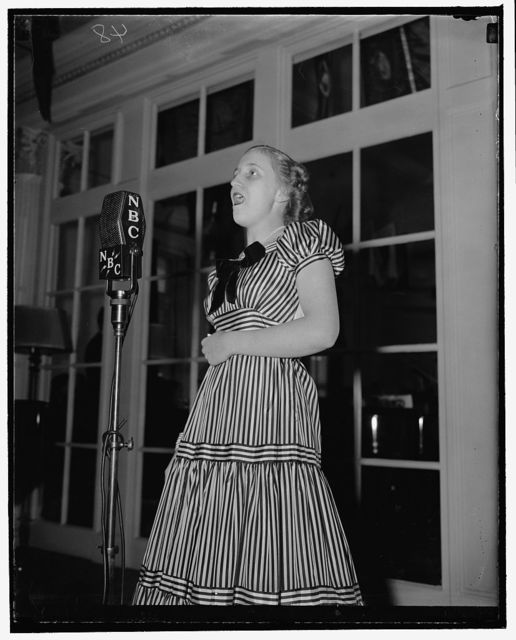 Daughter of Missouri Senator to broadcast with other congressional children. Washington, D.C., May 4. Margaret Truman, daughter of the Senator from Missouri and Mrs. Harry S. Truman, gives her voice a final tuning-up in anticipation of the third annual Congressional Children's Broadcast Saturday over a national NBC hook-up. The Congressional Club is sponsoring the program which include a galaxy[?] of talented congressional youngsters