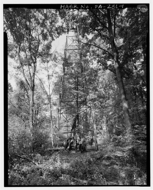 David Renfrew Oil Rig, East side of Connoquenessing Creek, 0.4 mile North of confluence with Thorn Creek, Renfrew, Butler County, PA