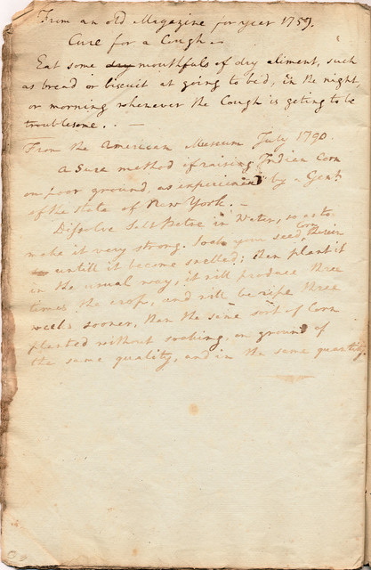 Daybook and ledger entries for a cough cure and a method of raising Indian corn
