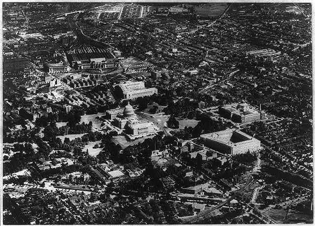 D.C. Washington. Capitol. Exterior. Aerial view, including rest of Capitol Hill and Union Station