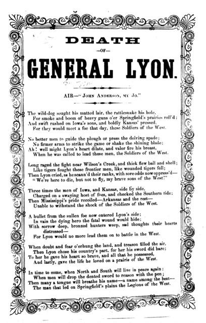 "Death of General Lyon. Air-""John Anderson, my Jo."""