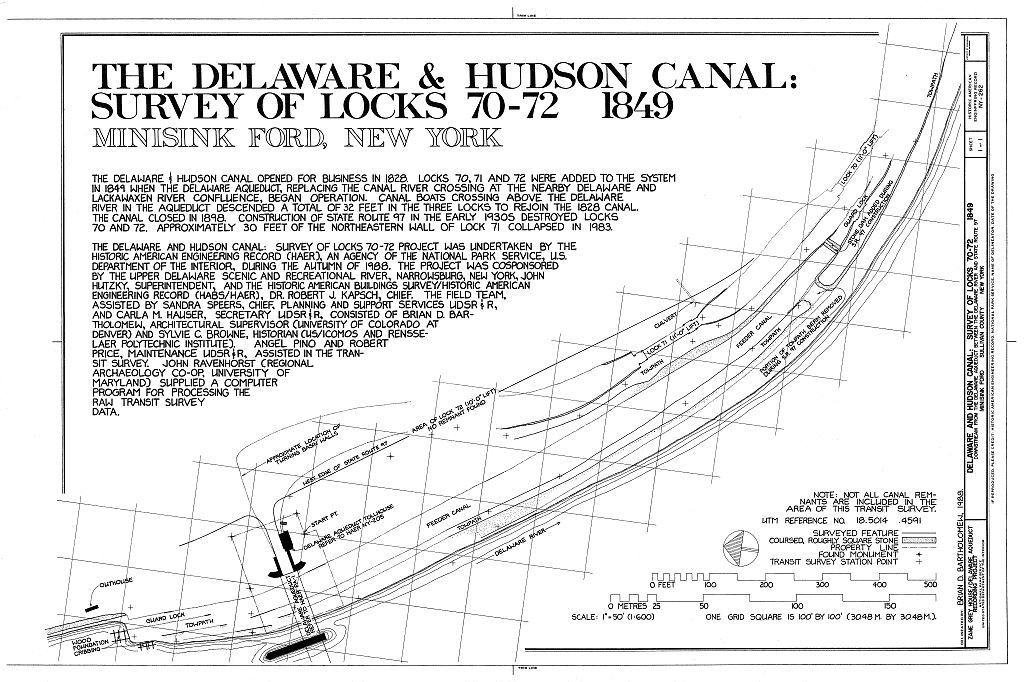 Delaware & Hudson Canal, Survey of Locks 70-72, Downstream from Delaware Aqueduct between Delaware River & Route 97, Minisink Ford, Sullivan County, NY