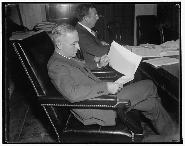 Denounced by rail executive. Washington, D.C., Oct. 28. Senator Harry Truman of Missouri, acting Chairman of the Senate Rail Inquiry in the absence of Senator Burton K. Wheeler, was bitterly denounced today by William Wyer, Treasurer of the Missouri Pacific Railroad, who was been appearing before the Committee. Wyer described the investigation as an attack upon his personal integrity, rather an attempt to lay before Congress complete information of the activity of the Van Swerigan Rail Empire. The statement was allowed to be inserted into the record. 10/28/37