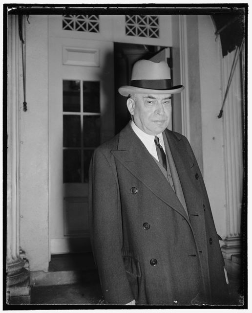 Department store magnate. Washington, D.C., Nov. 1. Louis E. Kirstein, Vice President of William Filene's Sons of Boston, leaving the White House after a call on President Roosevelt today, 11/1/38